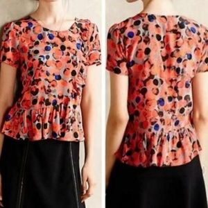HD In Paris Anthropologie Blouse Red Gray Dot Ruff